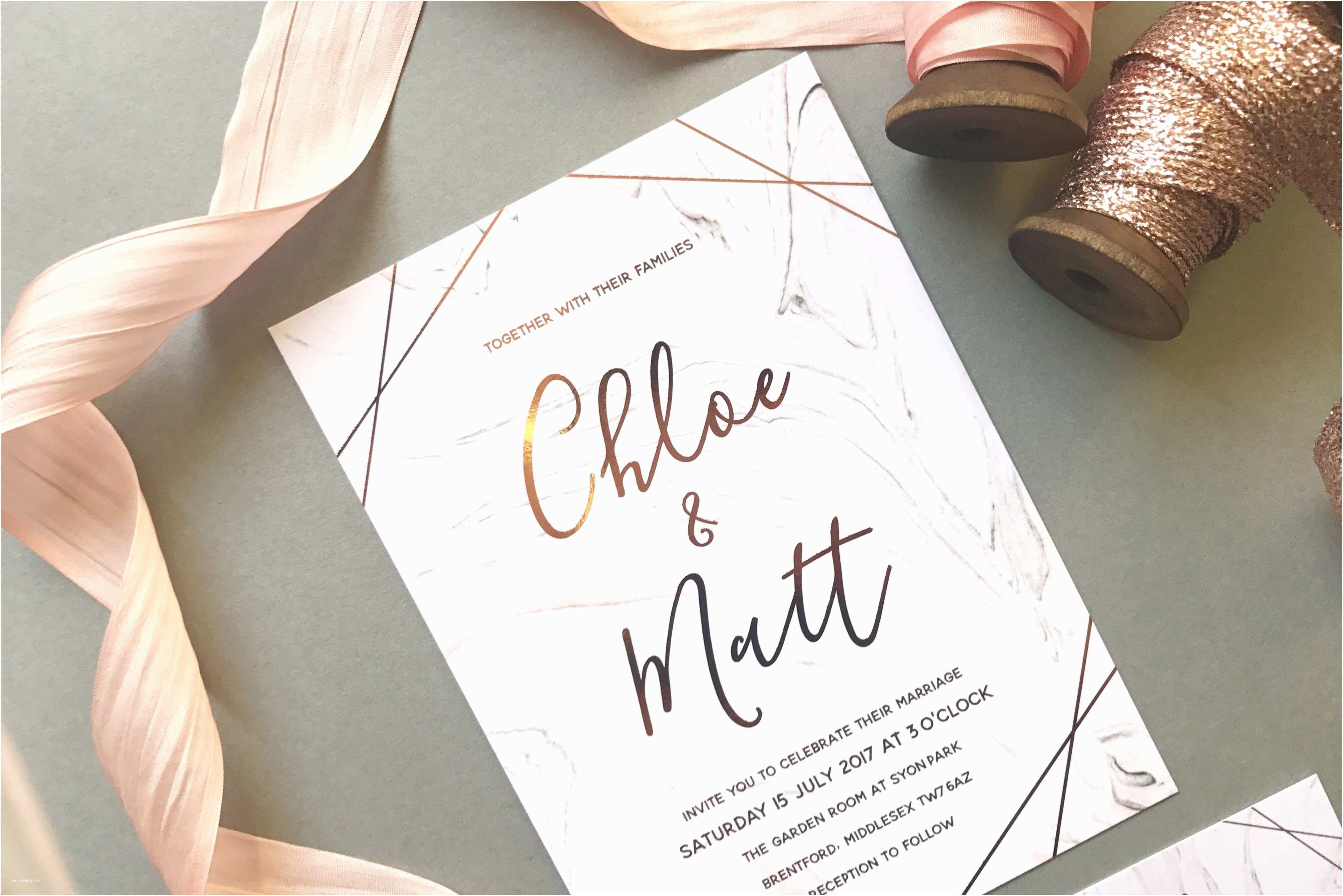 Marble Wedding Invitations Marble Rose Gold Wedding Invitation Luxury Wedding