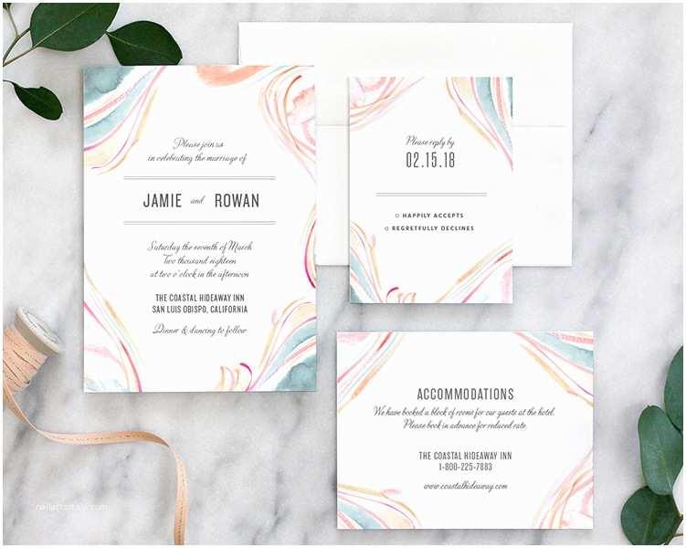 Marble Wedding Invitations Marble Watercolor Wedding Invitations Pastel Fine Day Press