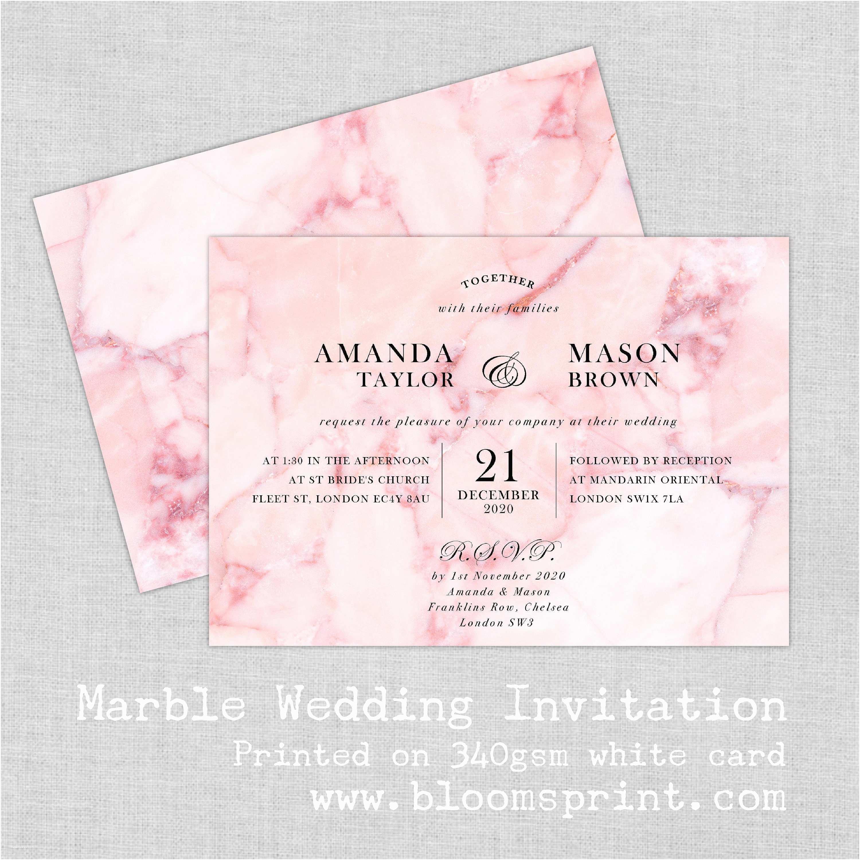 Marble Wedding Invitations Modern Marble Wedding Invitation Set Marble Wedding