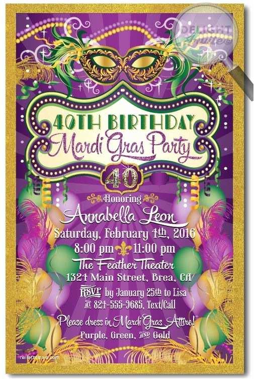 Mardi Gras Birthday Invitations 23 Best Images About 40th Birthday Invitation Ideas