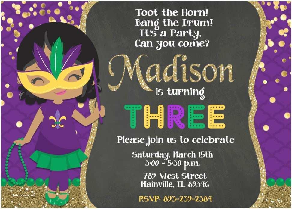 Mardi Gras Birthday Invitations Birthday Invitation Templates Mardi Gras Birthday