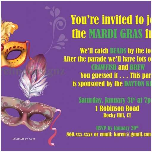 Mardi Gras Birthday Nvitations Custom Mardi Gras Theme Party Nvitation With Masks