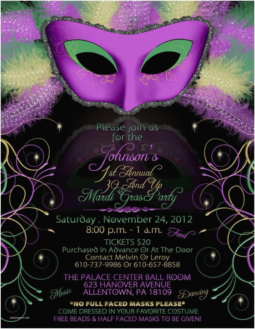 Mardi Gras Birthday Invitations Inspiring Mardi Gras And Masquerade Invitation