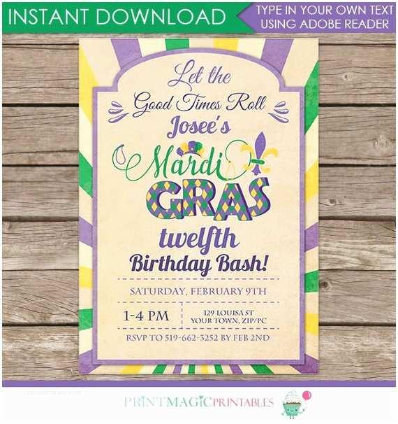 Gras Birthday Invitations  Gras Birthday Invitation  Gras Party