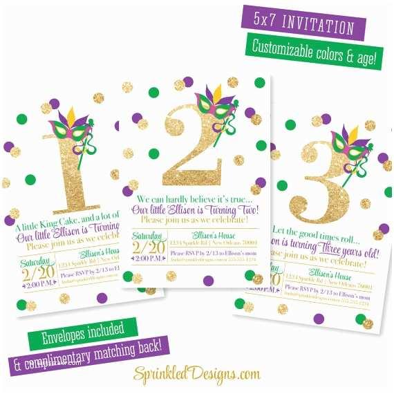 Mardi Gras Birthday Invitations Mardi Gras Birthday Invitation Purple Green Gold Glitter