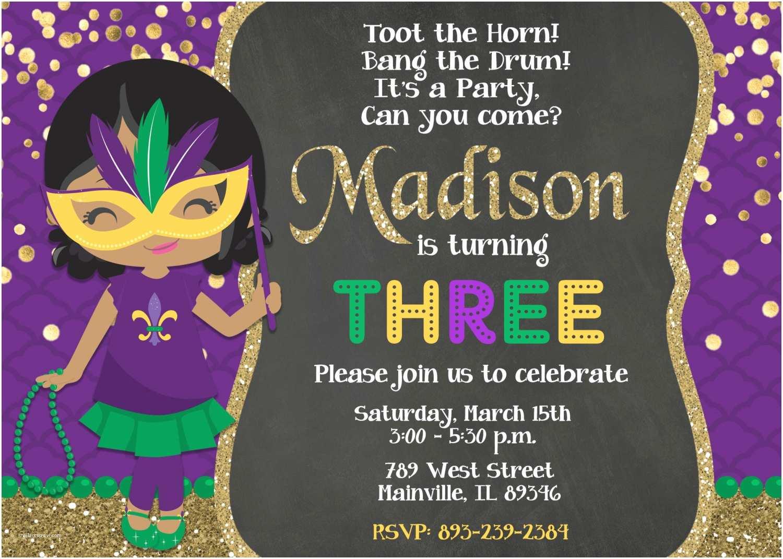 Mardi Gras Birthday Invitations Mardi Gras Birthday Party Invitation Mardi Gras Party