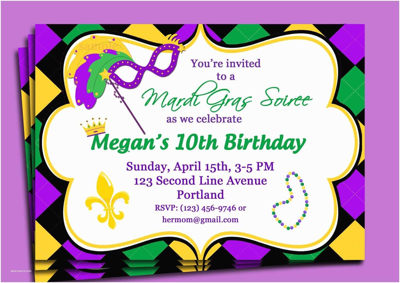 Mardi Gras Birthday Invitations Mardi Gras Carnival Invitation Printable Or Printed With