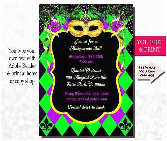 Mardi Gras Birthday Invitations Mardi Gras Invitation Mardi Gras Party Invitation