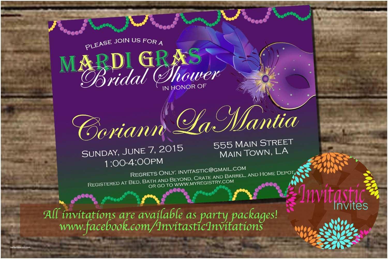Mardi Gras Birthday Invitations Mardi Gras  Bridal Shower Invitation New Orleans