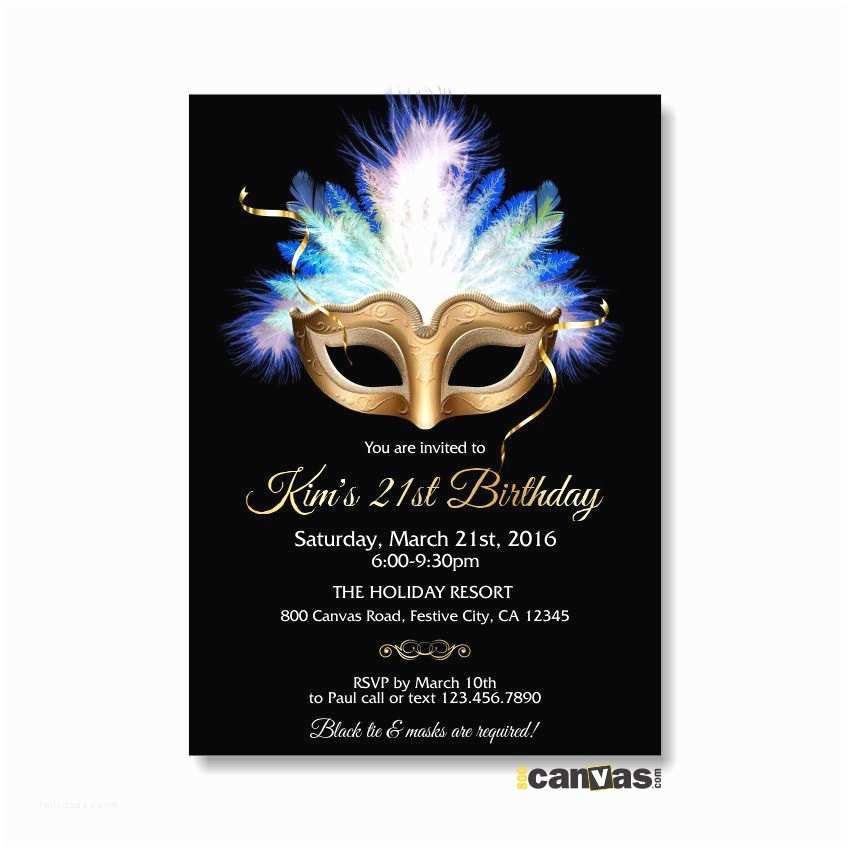 Mardi Gras Birthday Invitations Masquerade Invitation Mardi Gras Mask Masquerade