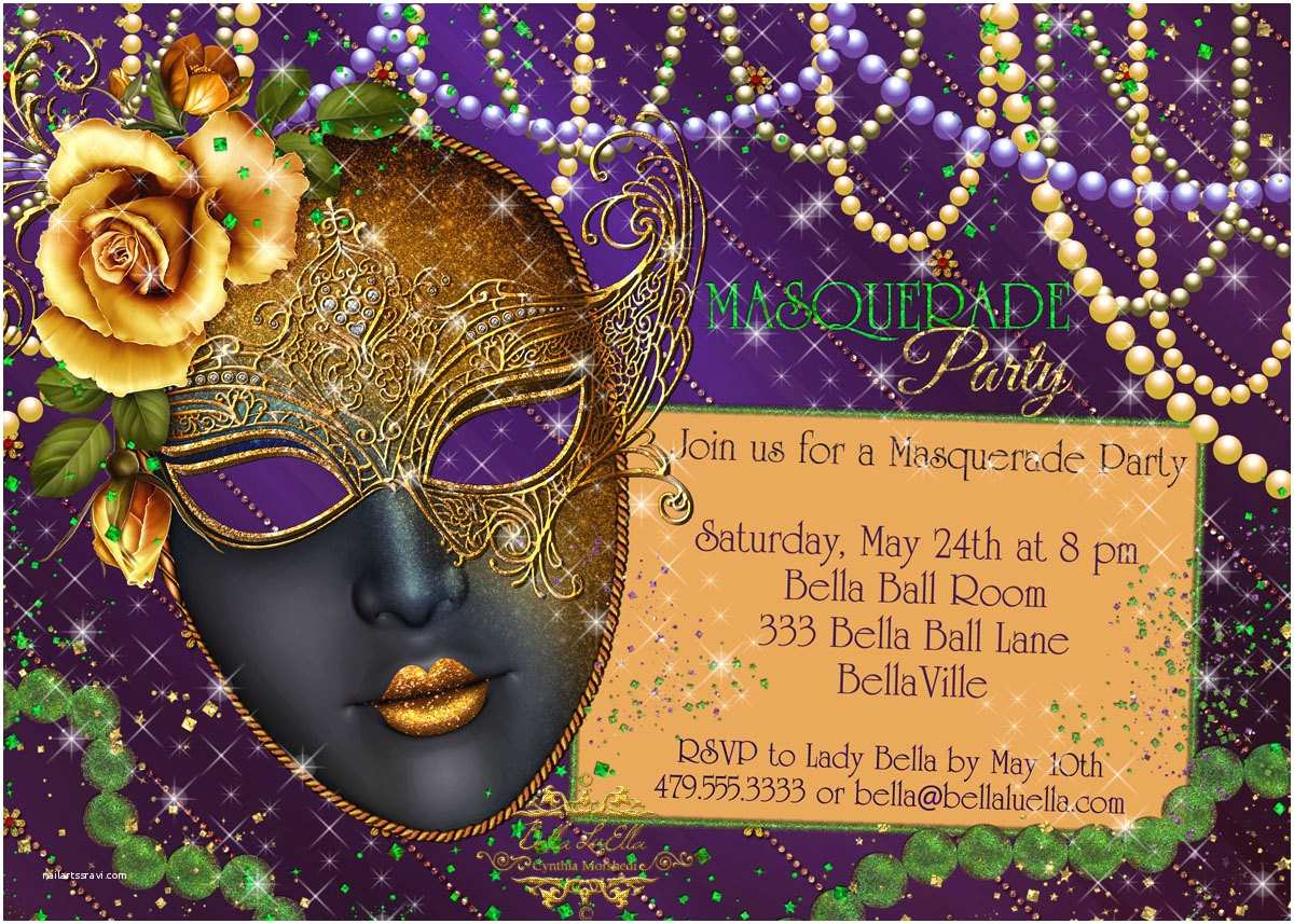 Mardi Gras Birthday Invitations Masquerade  Invitation Mardi Gras