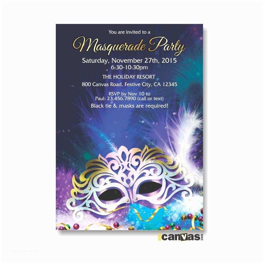 Mardi  Birthday Invitations Masquerade Party Invitations Mask Invitation Mardi