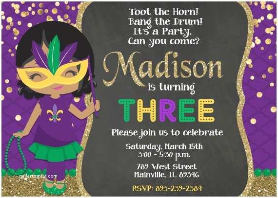 Mardi Gras Party Invitations Mardi Gras Birthday Party Invitation Mardi Gras Party theme