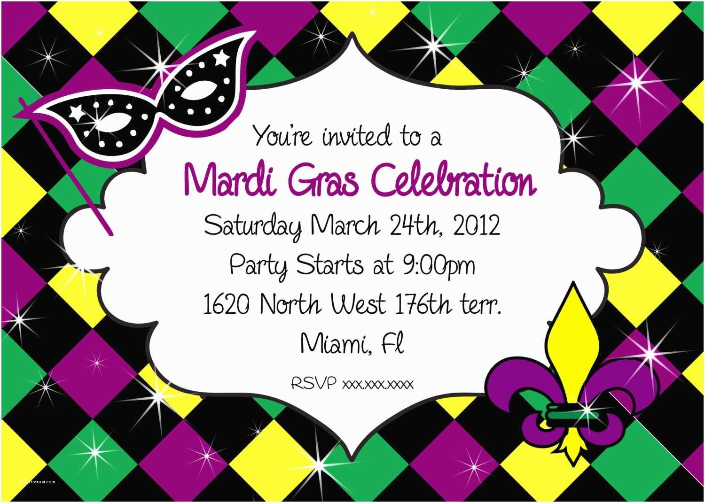 Mardi Gras Party Invitations Mardi Gras Invitation Party Printable Invitation
