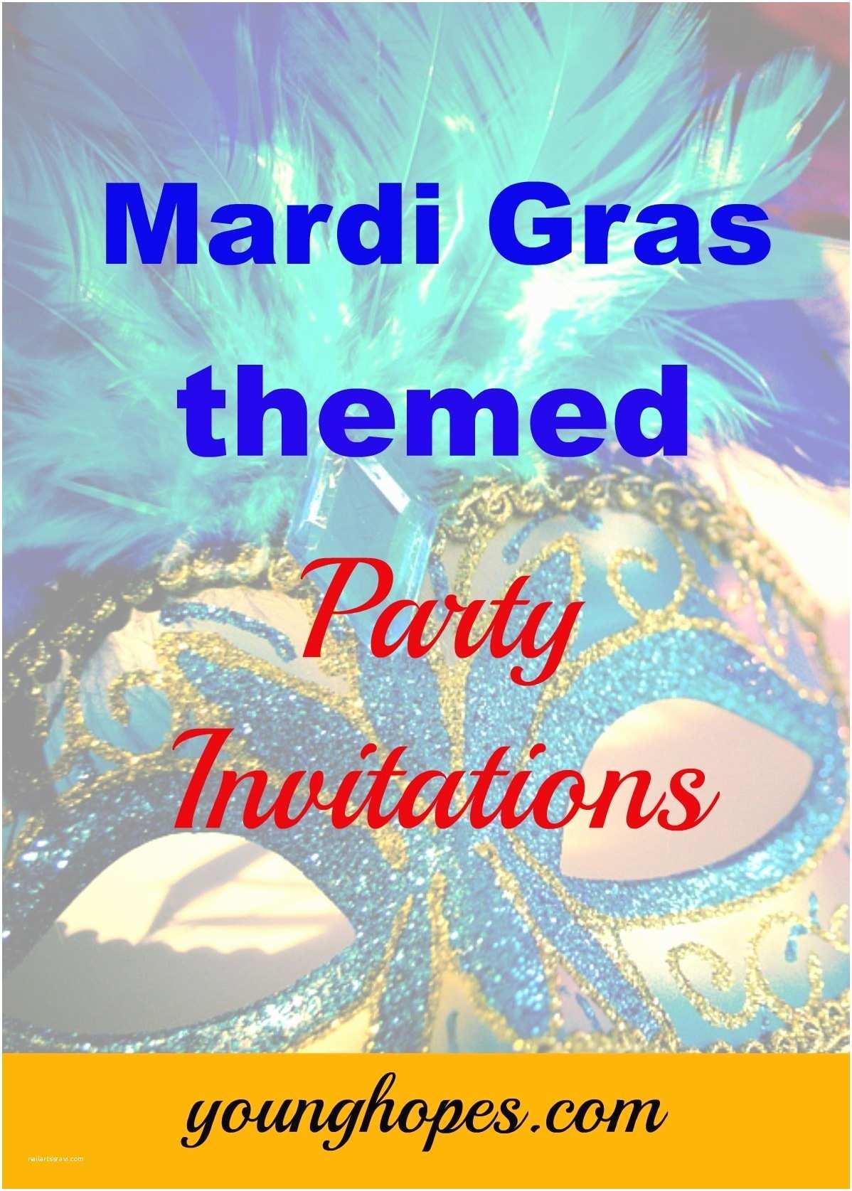 Mardi Gras Party Invitations Mardi Gras themed Invitations for Masquerade Party