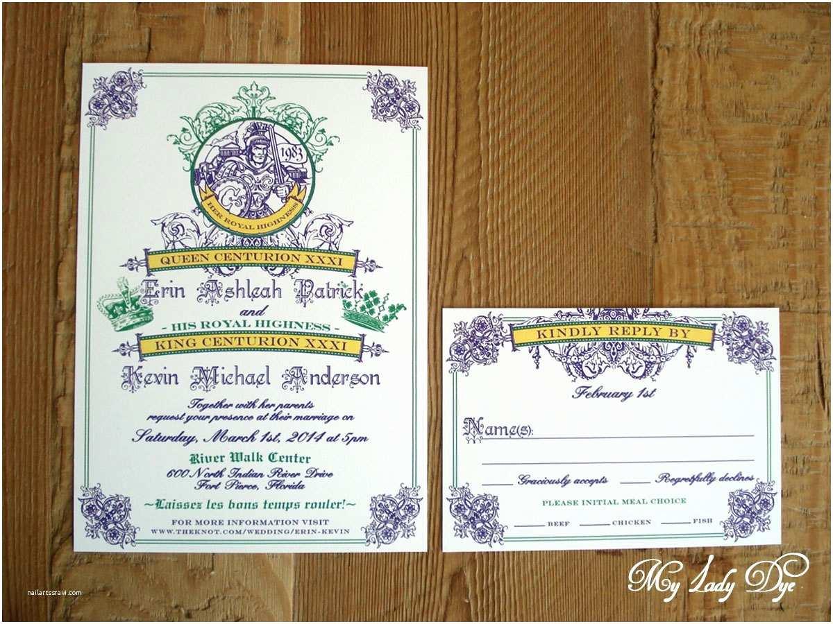 Mardi Gras Wedding Invitations 100 Mardi Gras King & Queen New orleans Wedding Invitations
