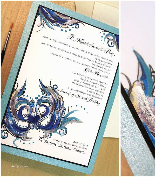 Mardi Gras Wedding Invitations Blue and Black Mardi Gras Wedding Invitationsmomental Designs