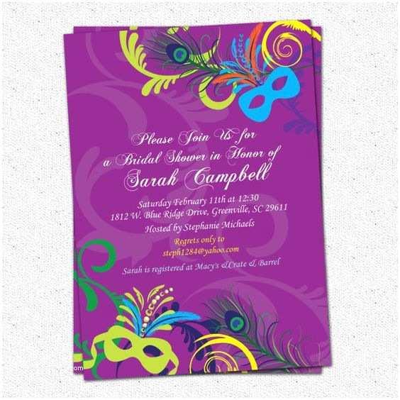 Mardi Gras Wedding Invitations Bridal Shower Invitation Printable Mardigras Mardi Gras