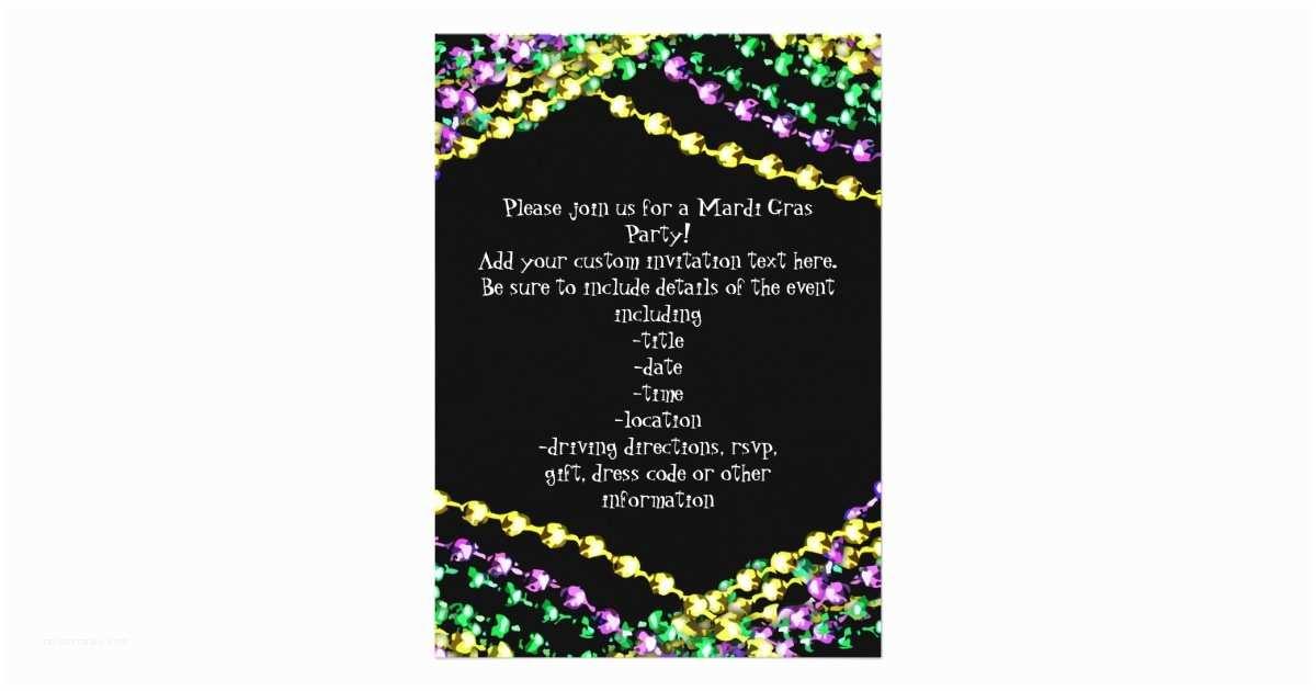 mardi gras beads necklaces invitation