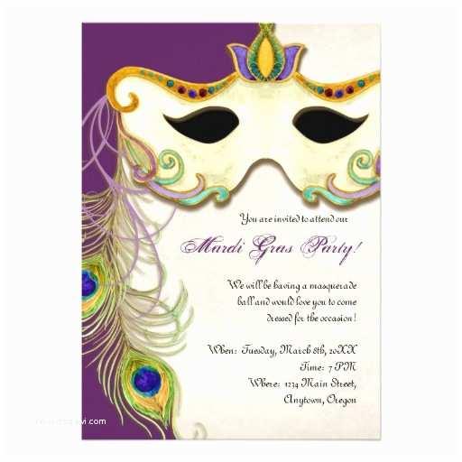 Mardi Gras Wedding Invitations Peacock Masquerade Mask Ball Mardi Gras Party 5x7 Paper
