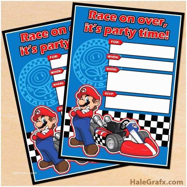 Mario Birthday Invitations Free Printable Mario Kart Birthday Invitation Set