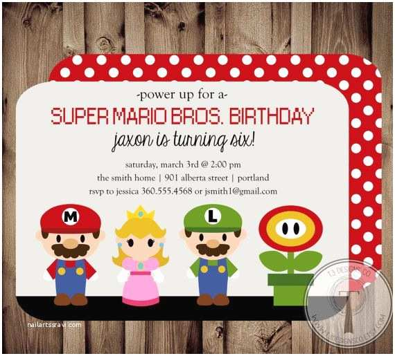 Mario Birthday Invitations Mario Birthday Invitation Super Mario Brothers by
