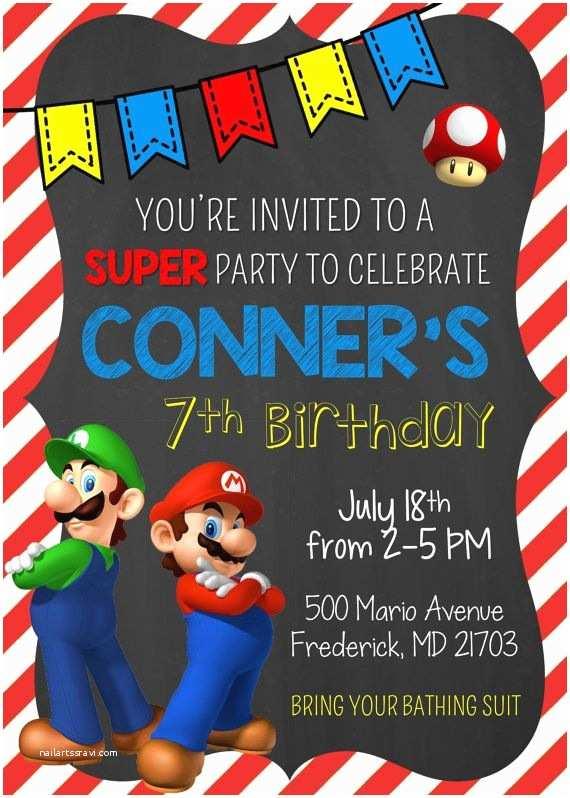 Mario Birthday Invitations Super Mario Bros Birthday Invitation Mario and by