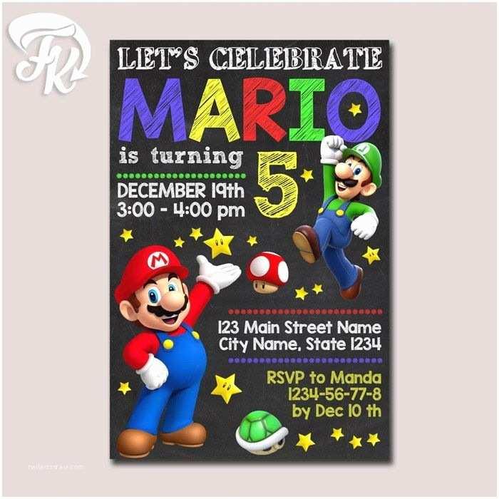 Mario Birthday Invitations Super Mario Invitation Printable Chalkboard Birthday Party