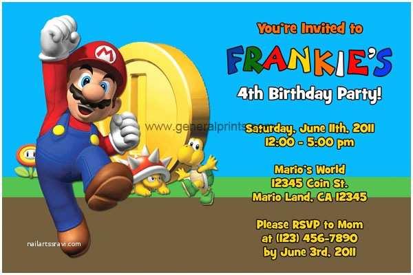 Mario Birthday Invitations Super Mario Invitations