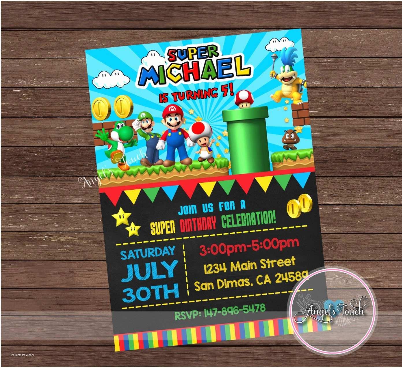 Mario Birthday Invitations Super Mario Party Invitation Super Mario Birthday Invitation