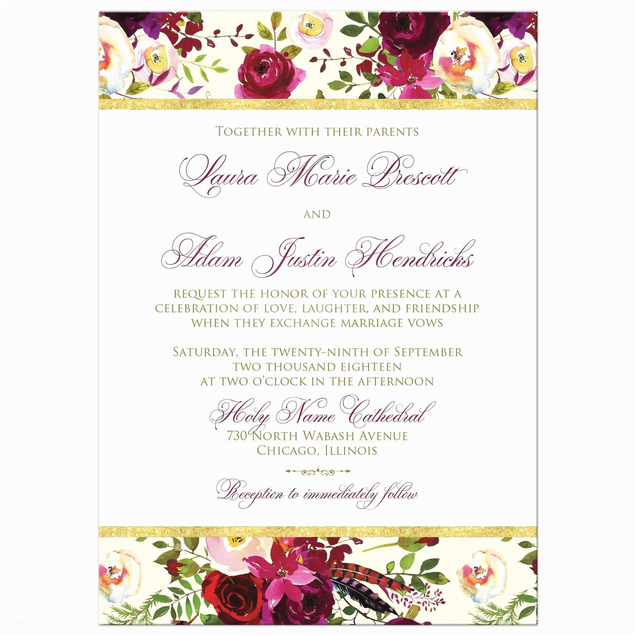 Maroon Wedding Invitations Beautiful Burgundy Watercolor Florals Wedding Invitation