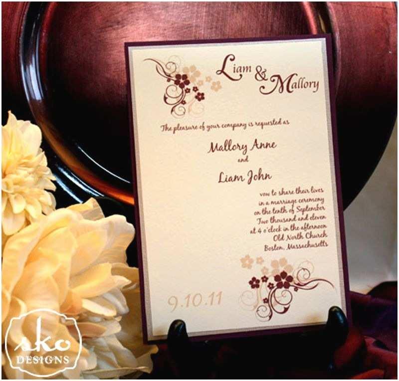 Maroon Wedding Invitations Burgundy Champagne & Ivory Wedding Invitation