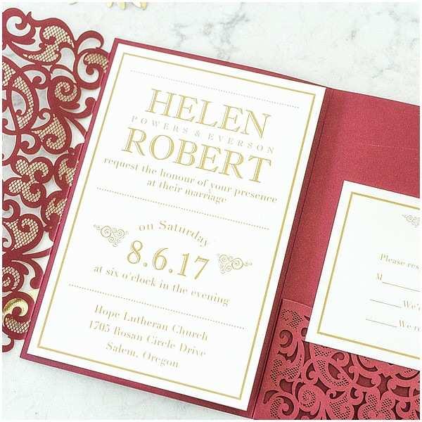 Maroon Wedding Invitations Elegant Fall Burgundy and Gold Heart Laser Cut Pocket