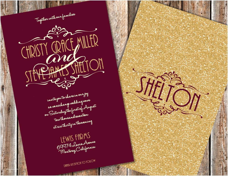Maroon Wedding Invitations Maroon and Gold Wedding Invitations Gold Glitter Wedding