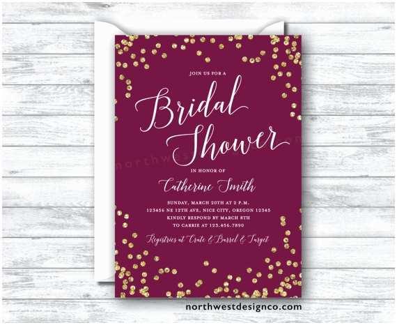 Maroon Wedding Invitations Maroon Gold Bridal Shower Invitation Burgundy Merlot Invite