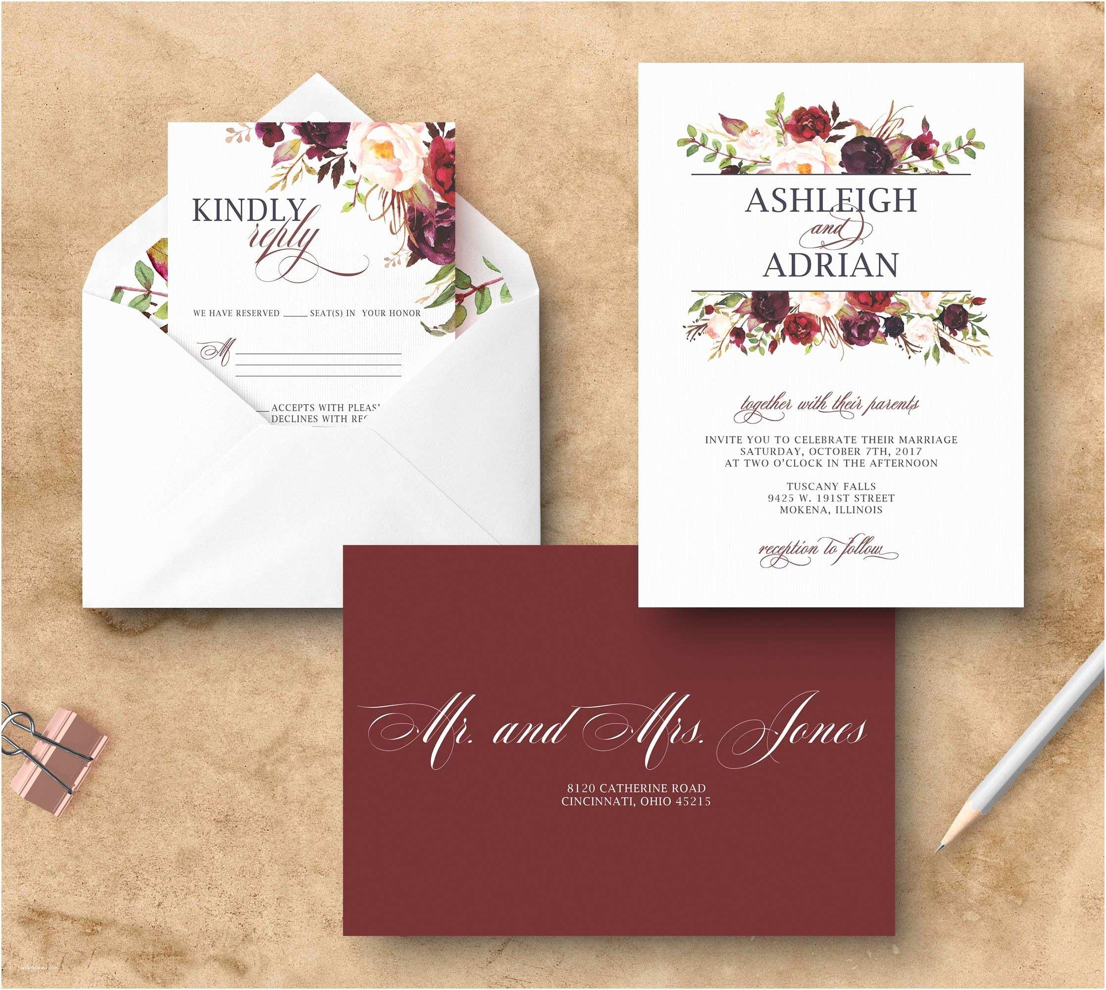 Maroon Wedding Invitations Marsala Wedding Invitation Floral Burgundy Wedding
