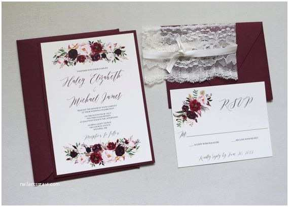 Marsala Wedding Invitations Boho Marsala Wedding Invitation Fall Wedding Invitation