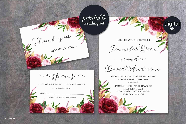 Marsala Wedding Invitations Floral Wedding Invitation Marsala Wedding Invitation Pink