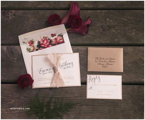 Marsala Wedding Invitations Marsala Wedding Invitation Lace Wedding by Pinkorchidinvites