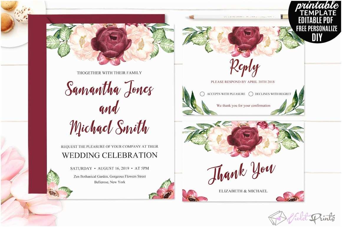 Marsala Wedding Invitations Marsala Wedding Invitation Set Template by Violetprints