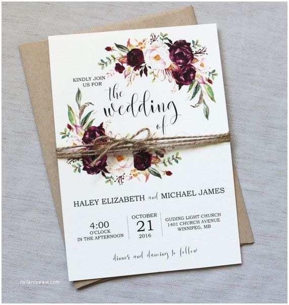 Marsala Wedding Invitations Marsala Wedding Invitation Suite Burgundy Pink Bohemian