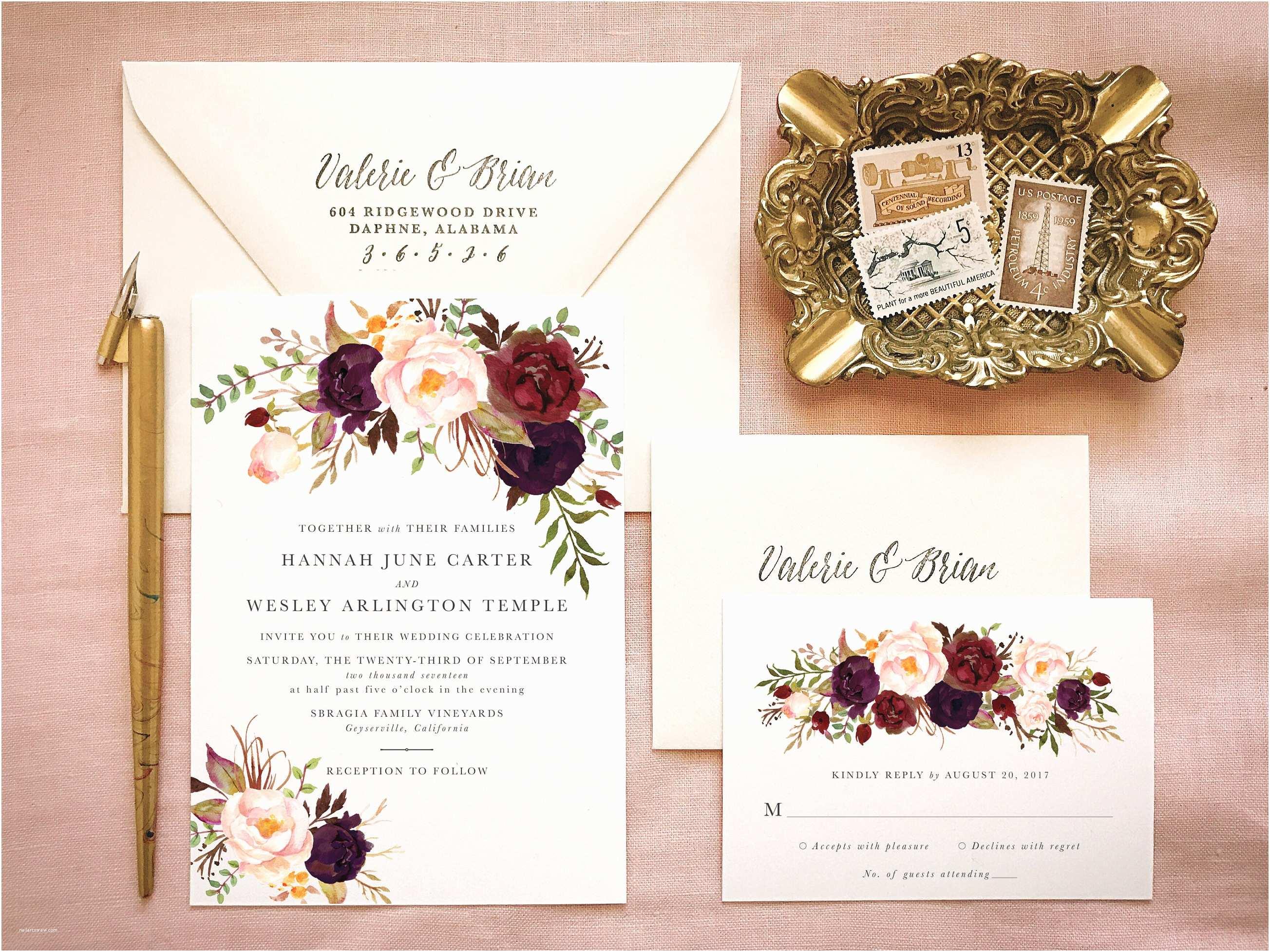Marsala Wedding Invitations Marsala Wedding Invitation Suite for Bohemian Wedding