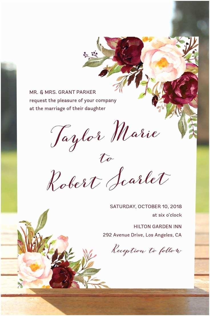 Marsala Wedding Invitations Marsala Wedding Invitations Bohemian Wedding Invite Suite