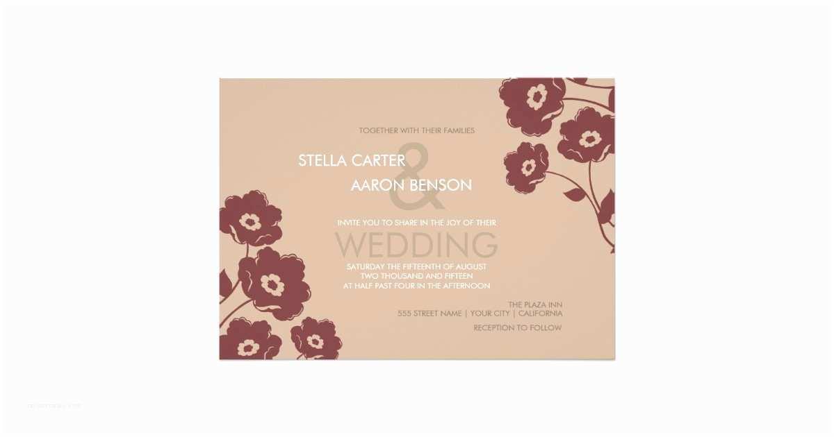 Marsala Wedding Invitations Modern Floral Wedding Invitation Marsala