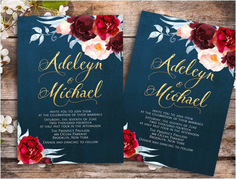 Marsala Wedding Invitations Navy Blue Marsala Wedding Invitation Printable Wedding
