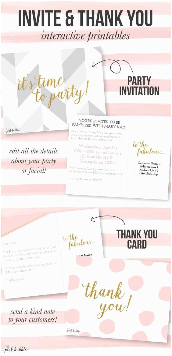 Mary Kay Party Invitations Customizable Mary Kay Party Invitation and Thank You Card