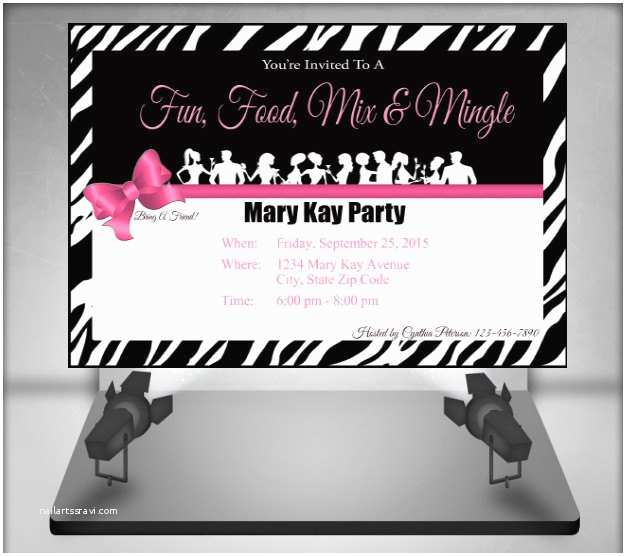 Mary Kay Party Invitations Mary Kay Zebra Party Invitation by Ofcreativity On Etsy