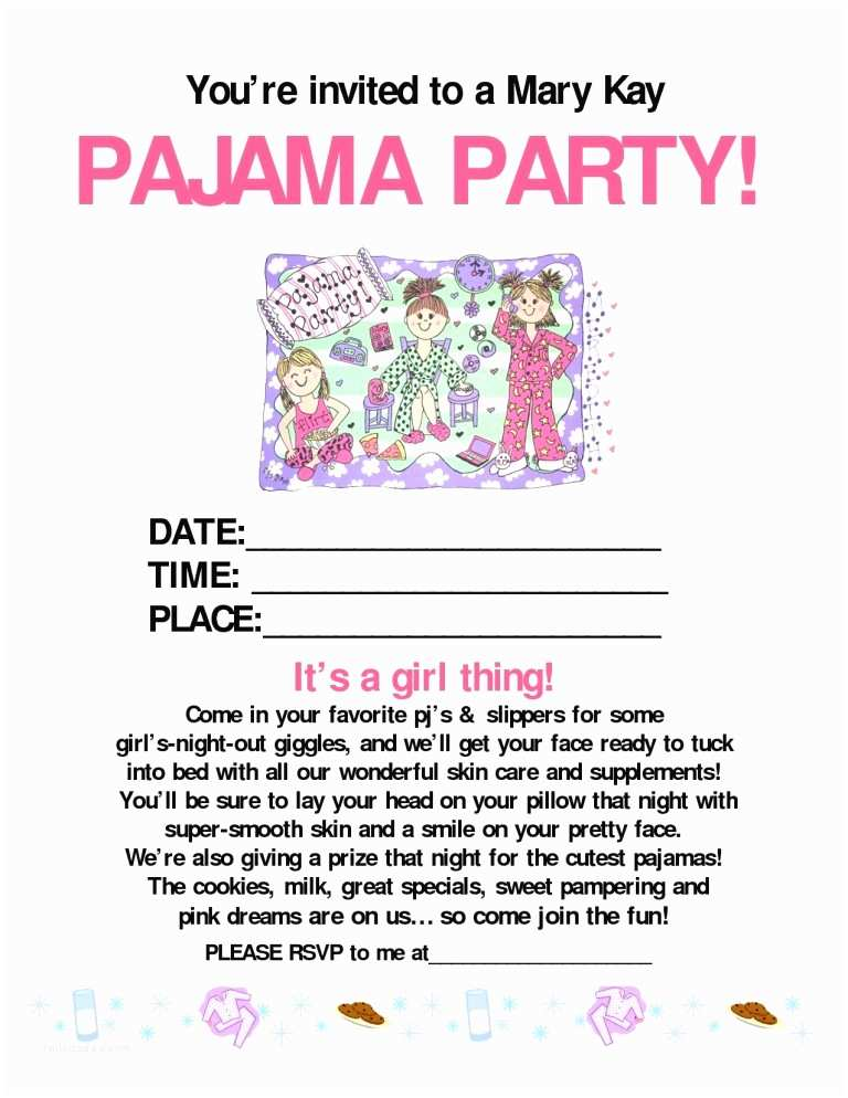 Mary Kay Party Invitations Pajama Party Mary Kay Mary Kay Pinterest