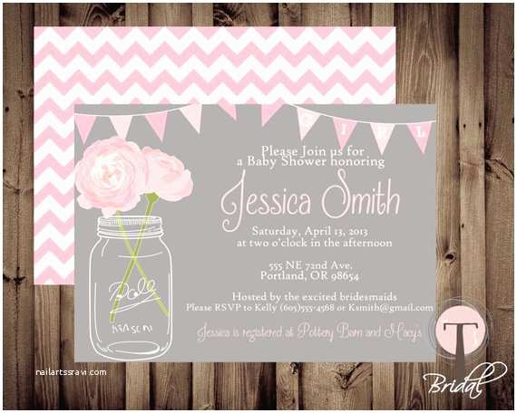 Mason Jar Baby Shower Invitations Baby Girl Baby Shower Invitation Baby Shower Invite by