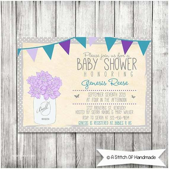 Mason Jar Baby Shower Invitations Baby Shower Invitation Mason Jar Invite Printable 5x7 Jpg